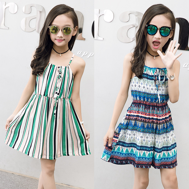 60c8814142e0 For 6 8 10 12 14 Years Girls summer clothes beach Bohemia Style Floral  Print cotton. sku: 32971568510