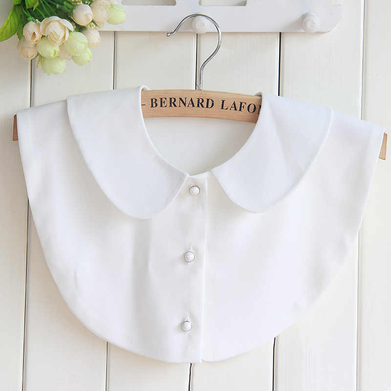 Women Girls white Shirt Collar Chiffon Detachable Fake Collar white Blouse lapel female Top Clothes Accessories Removable gift