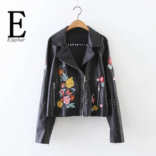 Black Leather Jacket Women Vintage Punk Rivets Hippie Chic Floral Embroidery Motorcycle Jacket 2016 Winter Women Bomber Jacket