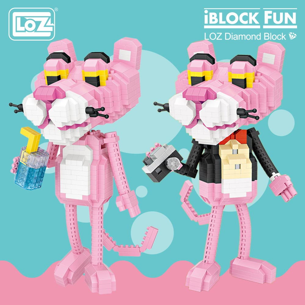 LOZ Diamond Blocks Cartoon Leopard Action Figures Animal Model Building Assembly Toys for Children Educational Funny Bricks 9785 стоимость