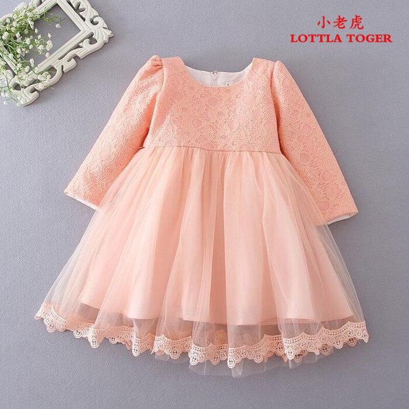 Rose à manches longues bébé fille robes de baptême infantile princesse Tutu robe 1 ans anniversaire robes enfant en bas âge vêtements robe fille