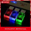 YUFANYF 2017 pendrive 3 colors Red / blue / green LED Buick car LOGO USB falsh drive 4GB 8GB 16GB 32GB U Disk crystal gift