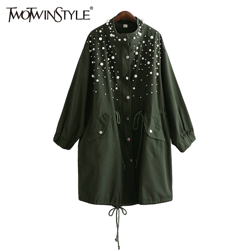 TWOTWINSTYLE Pearl Women's Windbreaker Trench Coat Female Cardigan Long Sleeve Coats Top Casual Clothes Korean Big Sizes Autumn