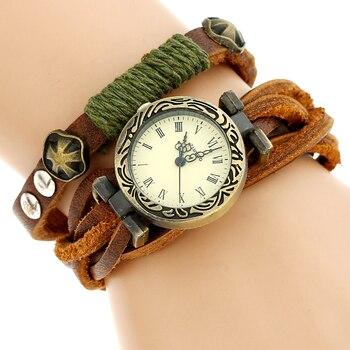 Genuine Leather Bronze Rectangular Dial Wristwatch