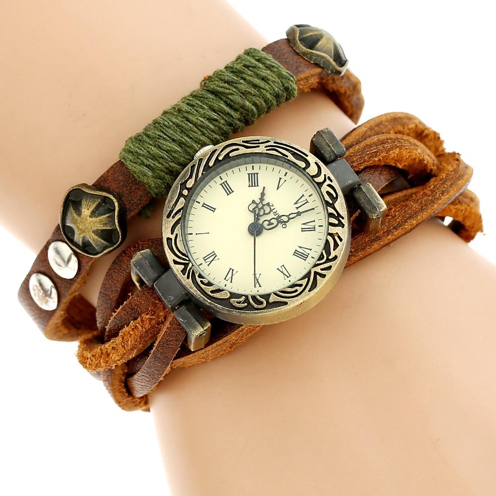 NEUE Echtes Leder-uhr Frau Retro Bronze Rim Rechteckige Zifferblatt Armbanduhr Frau Dame Casual Kleid
