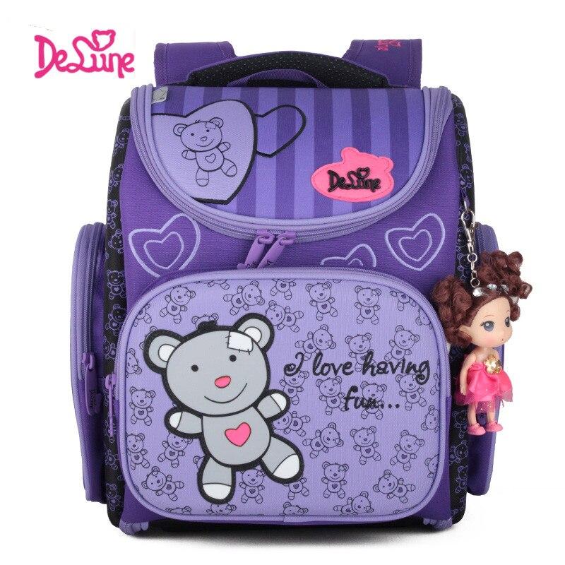 Delune School Bags Children Orthopedic School Backpacks Nylon Material Cartoon Bear Pattern Backpack For Girl delune