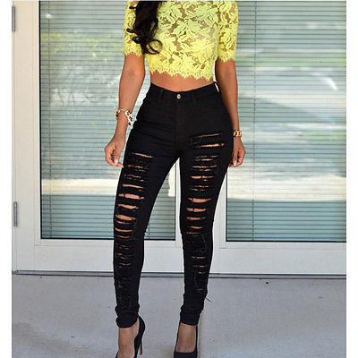 New Womens Sexy Destroyed Ripped Distressed Slim Denim Pants Boyfriend Jeans Trousers Wholesale