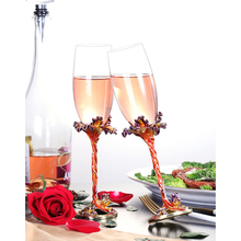 2pcs/set Europe Lead-free crystal glass wine LUXURY Enamel champagne glasses Iris goblet cup wedding gifts drinkware
