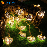20LED 2 5M Golden Heart Shaped Christmas Tree Light Bulb Battery Operated Party Fairy String Lights