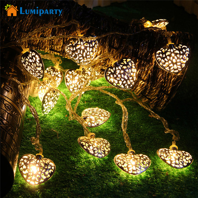 lumiparty 20led 25m decorative golden heart shaped fairy string lights outdoor halloween decoration battery - Outdoor Halloween Lights