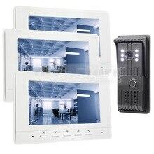 DIYKIT 7inch Video DoorPhone Doorbell Intercom Metal Shell Camera LED Color Night Vision 3 Monitors White