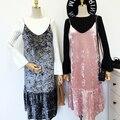 Ретро Винтаж Бархат Slip Dress Женщины Осень Зима Stylenanda Мода Нового Прибытия Плиссированные Толщиной Велюр Slip Dress Good Quality