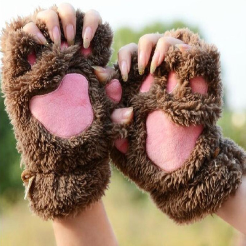 перчатки Half Finger Gloves Winter Women Warm Plush Gloves Bear Cat Claw Half Finger Gloves Covers Fingerless Cute Gloves Anime