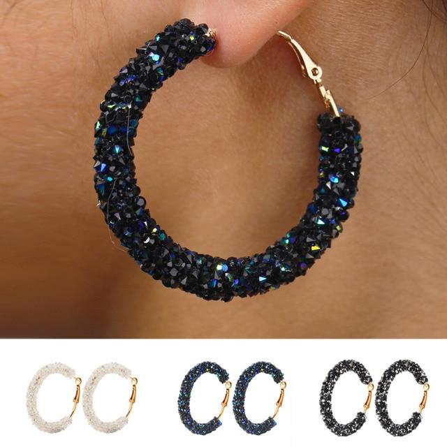2019 Brand New Design Charm Earrings Geometric Round Shiny Austrian Crystal Rhinestone Big Earring Fashion Jewelry for Women