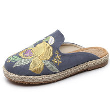 Female Shoes Embroidery National Handmade Cool Slipper cotton hemp Womens Spring Round-toed flat summer Half slippers