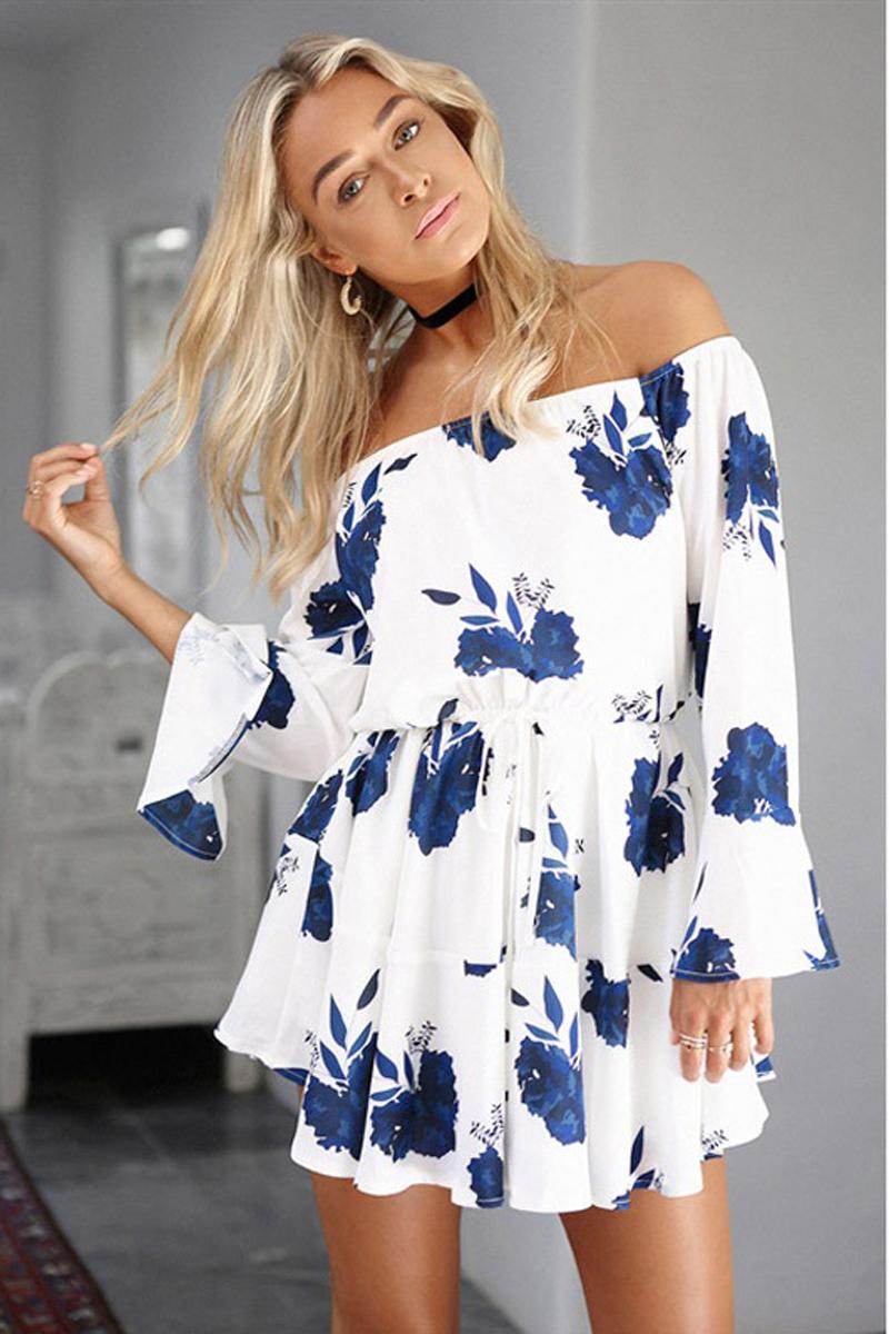 ELSVIOS Sexy Off Shoulder Slash Neck Office Dress 2017 Summer Floral Print Beach Dress Casual Flare Sleeve Women Dress Vestidos 7