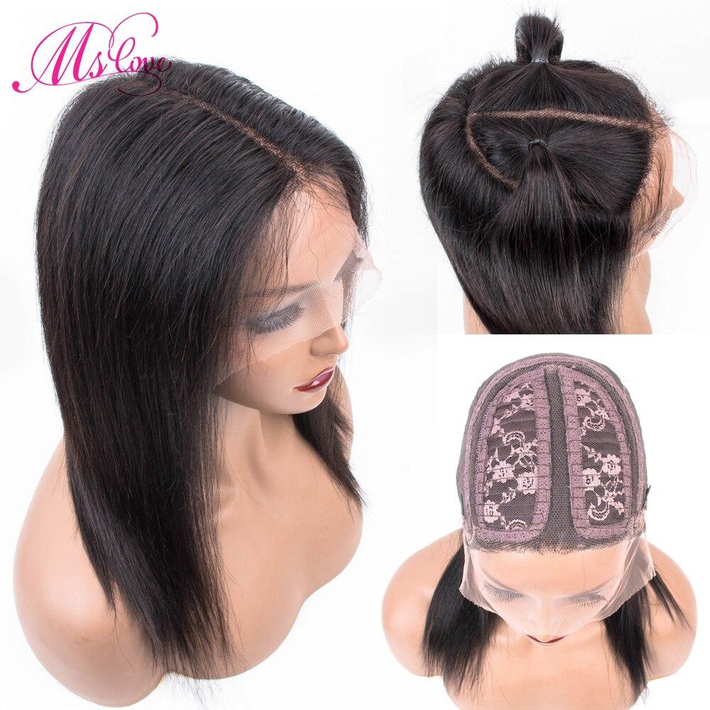 Ms Love Short Human Hair Wigs Straight Lace Parting Wig Human Hair Bob Human Hair Wigs Non Remy Brazilian Wig 12 Inch