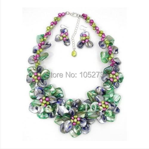 Colorful Mother OF Pearl Shell Freshwater Pearl Wired Flower Necklace /Earring Set 18 inchs Wholesale New Free Shipping FN835Colorful Mother OF Pearl Shell Freshwater Pearl Wired Flower Necklace /Earring Set 18 inchs Wholesale New Free Shipping FN835