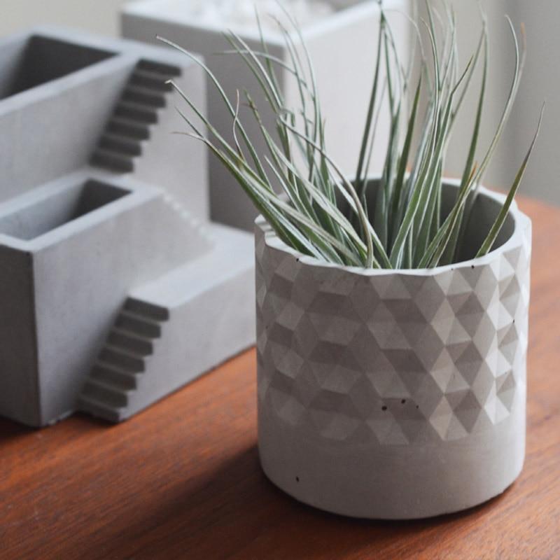silicone molds flower pot concrete silicone planter mold Round Diamond pattern planter pot mold