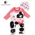 2016 roupa do bebê 100% roupas de algodão para roupas para bebês recém-nascidos 0 - 18 meses pijama chapéu Infantil meninos roupas de inverno terno HK952
