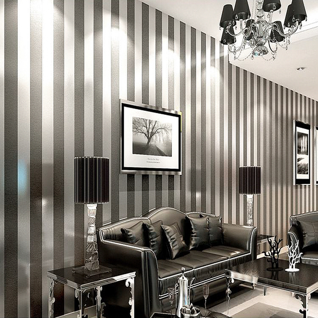 YOUMAN European Modern 3D Embossed Cozy Bedroom Non Woven Wallpaper Roll Golden Silver Black Striped