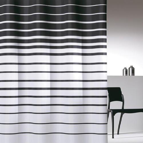 Black and White Striped Waterproof Shower Curtain 180 ...