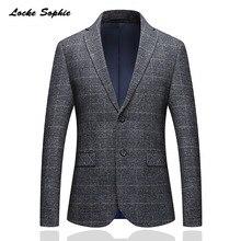 1 шт. мужской плюс размер slim fit blazer куртка 2019 весна хлопок плед двойная Пряжка маленький Блейзер мужские узкие офисные куртки пальто
