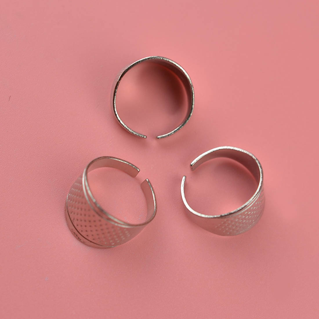 Cool 2Pcs Household Sewing Diy Tools Silver Ring Thimble Finger ...