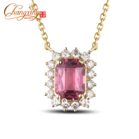 1 73ct Pink Emerald Cut Tourmaline Diamond Real 18k Gold Necklace Clavicle Chain