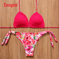 Eonpin 2017 Pink Knitted Swimsuit Sexy Swimwear Women Summer Dress Handmade Crochet Bikinis Women Bikini Swimming