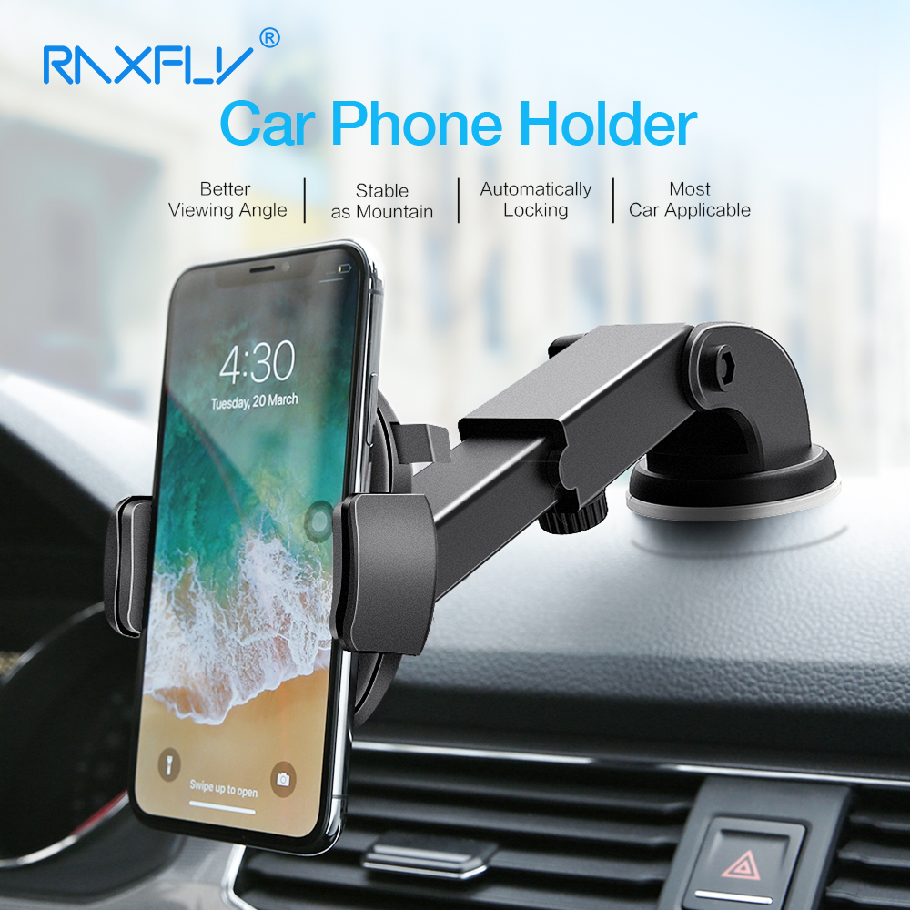 RAXFLY Car Phone Holder For iPhone Samsung 360 Rotation Suction Cup Navigation Car Holder Mobile Phone Holder Car Stand Support