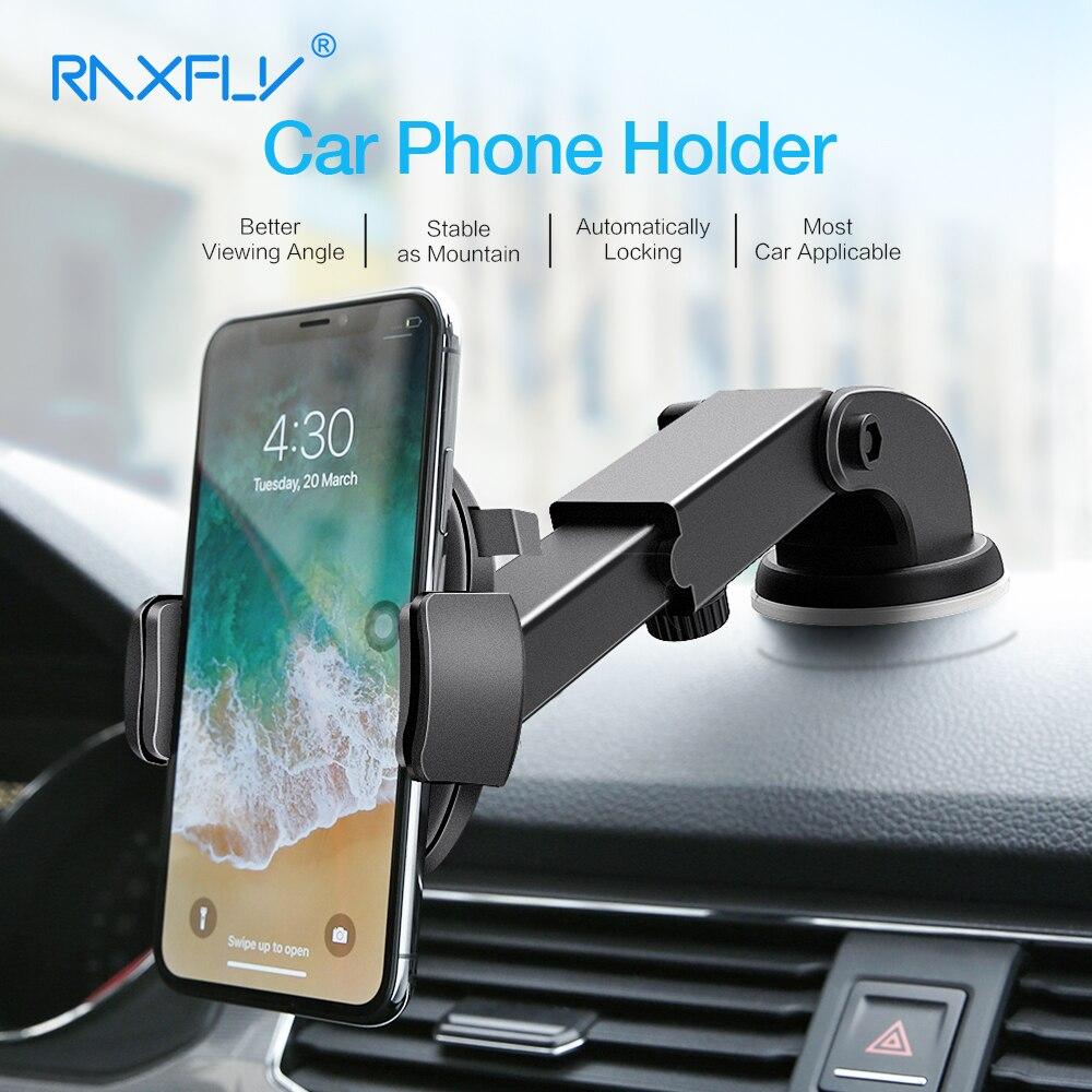 RAXFLY Suporte Do Telefone Do Carro Para o iphone Samsung 360 Rotação Ventosa Suporte Suporte Do Carro Suporte para Carro de Navegação Suporte Do Telefone Móvel suporte celular para carro