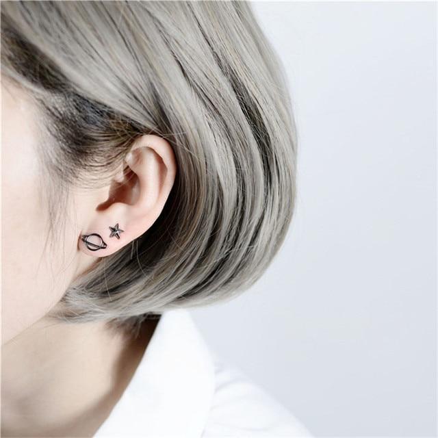 b0e7e197b Black planet pentagram earrings for women earings asymmetric studs jewelry  unique gifts 2018 hot selling products stud earring