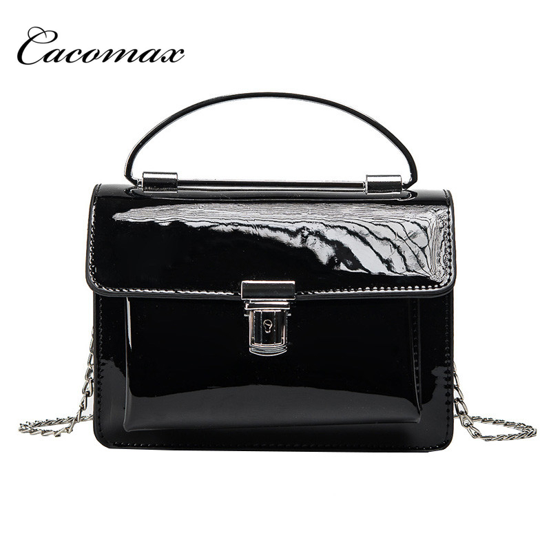 2017 chain small square package fashion metal handbag new tide summer patent leather shoulder bag wild small bag