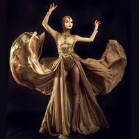 female singer sexy costumes bodysuit sets Rhinestones Bright silk jumpsuit stage show for nightclub dj party prom jazz dancer
