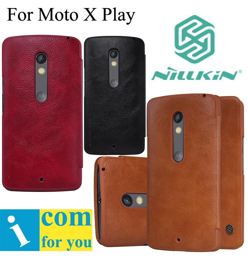 Nillkin Qin genuine real Flip Leather case cover for Motorola Moto X Play X3
