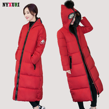 NYXURI TOP Quality Winter Jacket Women Anti-wolf Glasses Hooded Zippers Manteau X-Long Parkas Hiver Femme Fur Ball Cotton Coat