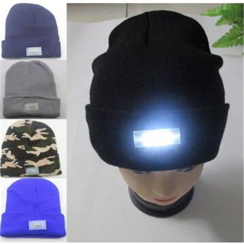Glowing Wool Hat 5 LED Lights Black Knit Hat Men s Warm Outdoor Night  Fishing Cap Winter Ski Ice Cap Skullies Beanies-in Skullies   Beanies from  Men s ... b7ced4c91f4