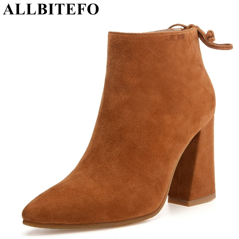 ALLBITEFO thick heel Nubuck leather pointed toe women boots fashion brand high heels martin boots woman ankle boots girls shoes allbitefo fashion brand genuine leather thick heel women pumps new spring pointed toe high heels ladies shoes sapatos femininos