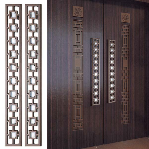 Glass door handle carving large wooden doors Chinese antique door ...