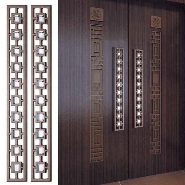 Glass Door Handle Carving Large Wooden Doors Chinese Antique Door