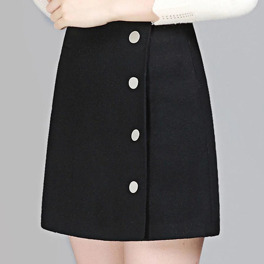 Short Winter Woolen Midi Skirt High Waist Women Tight Skirts ...