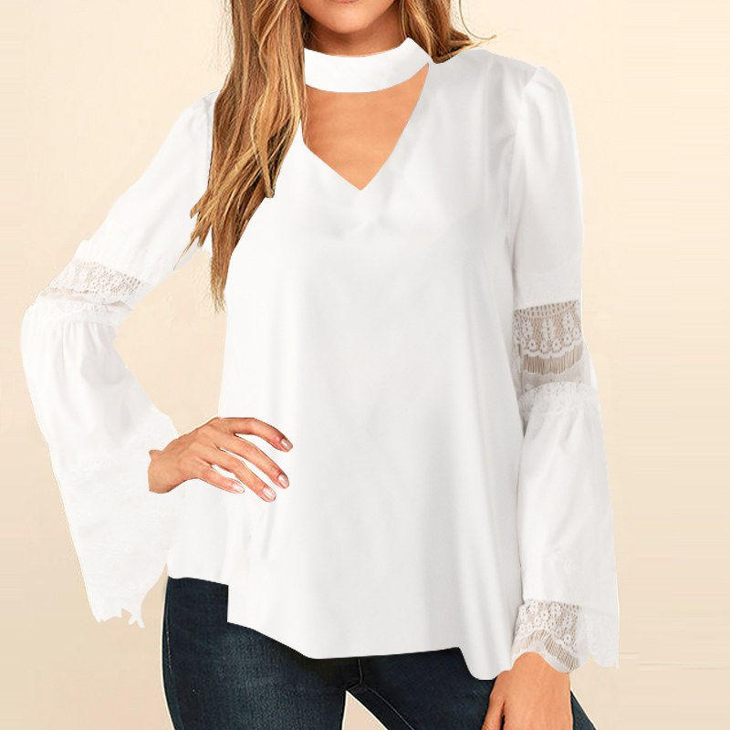 Top Fashion 2018 ZANZEA Women Spring Solid Chocker V Neck Flare Sleeve Baggy White Blouse Ladies Casual Splice Lace Crochet Tops
