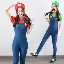Lady Christmas Costumes Women Super Mary Plumper Make Up Party Jumpsuit+Top+Cap+Gloves+ Moustache Performance Halloween Cosplay