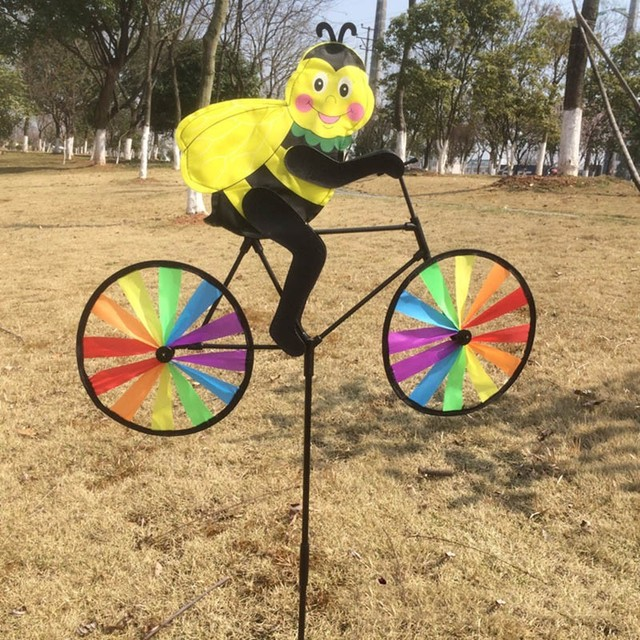 Garden Ornaments Animal Cycling Shape Windmill Multicolor Wind ...