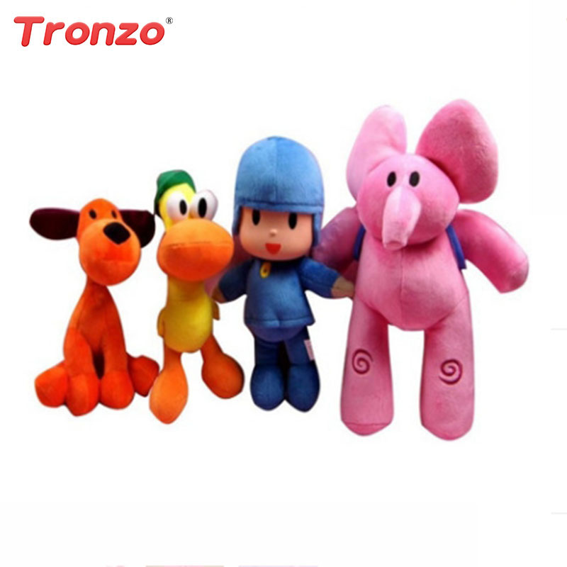 Tronzo 4pcs/Set Pocoyo Plush Toys Stuffed Animal Big Soft Toys Elly Pato Loula Kids Brinquedos Easter Gift For Children
