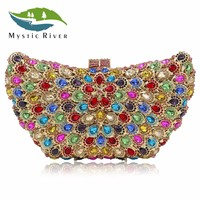 Mystic River Women Clutch Bags Angel Wing Evening Bag Crystal Stone Designer Party Clutches Purse