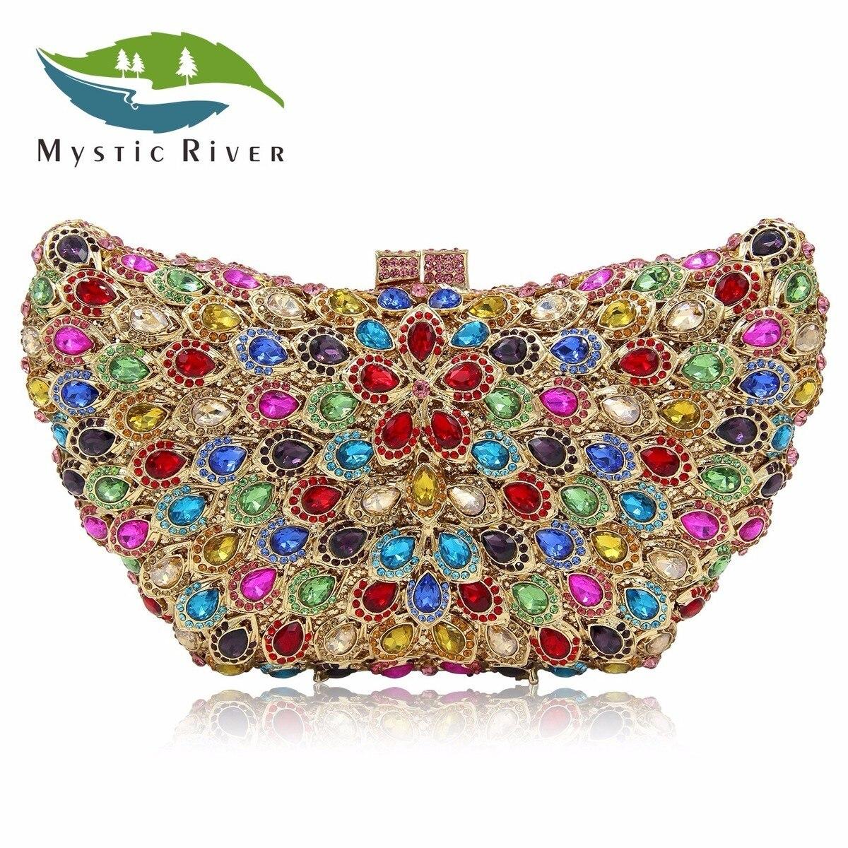Mystic River Women Clutch Bags Angel Wing Evening Bag Crystal Stone Designer Party Clutches Purse джемперы mystic джемпер
