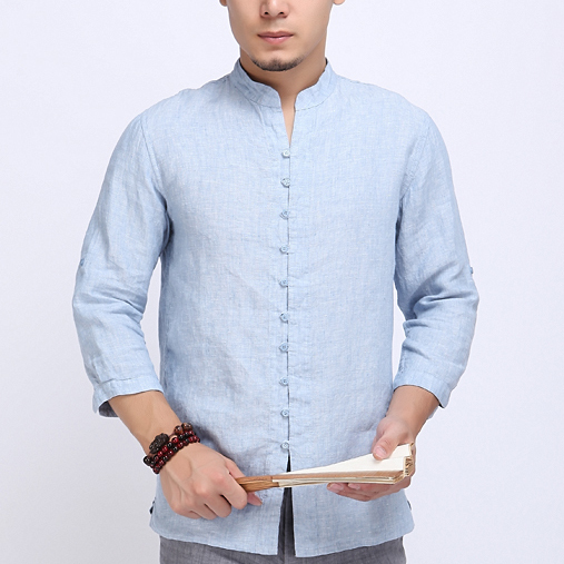 Stand Collar Shirts Designs : Free shipping white linen shirts men chinese style stand collar