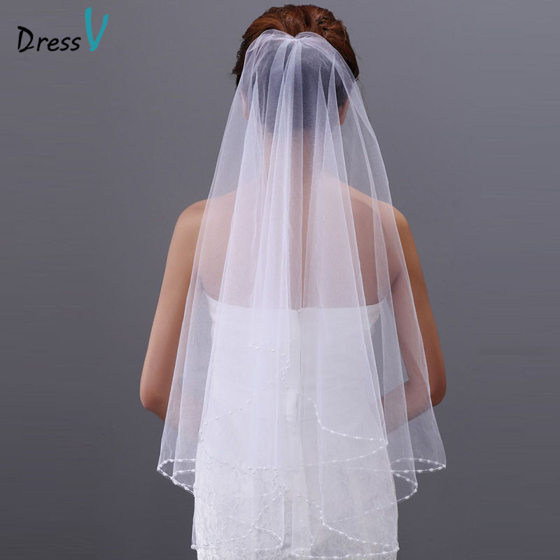 Dressv white/ivory wedding veil tulle beaded elbow bridal veil two-layer bead edge wedding accessories bridal veil for wedding
